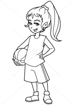 Basketball Girl Line Art - Martin Malchev