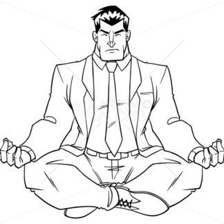 Businessman Meditating Line Art - Martin Malchev