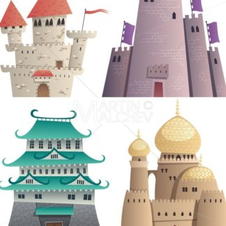 Cartoon Castles on White - Martin Malchev