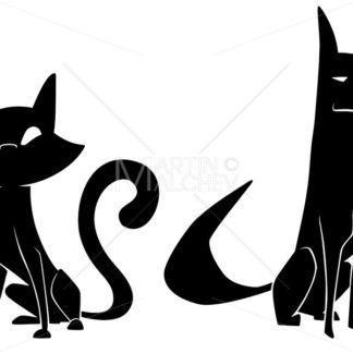 Cat And Dog Silhouettes - Martin Malchev