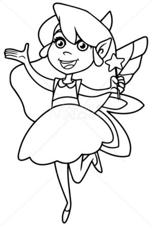 Little Green Fairy Line Art - Martin Malchev