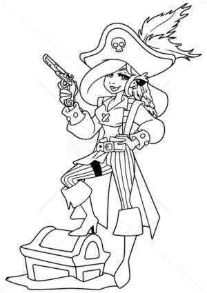 Pirate Girl Illustration Line Art - Martin Malchev