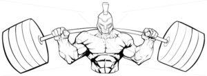 Spartan Gym Mascot Line Art - Martin Malchev