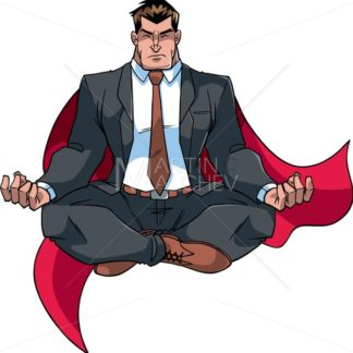 Super Businessman Meditating on White - Martin Malchev