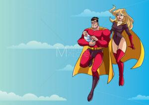 Super Dad Mom and Baby in Sky - Martin Malchev