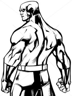 Superhero Back Battle Mode No Cape Line Art - Martin Malchev