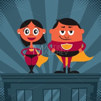 Superhero Couple Cartoon - Martin Malchev
