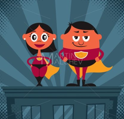 Superhero Couple Cartoon - Martin Malchev