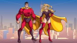 Superhero Couple Standing Tall in City - Martin Malchev