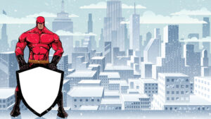 Superhero Holding Shield on Winter City - Martin Malchev