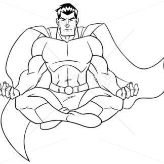 Superhero Meditating Line Art - Martin Malchev