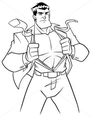 Superhero under Cover Suit Line Art - Martin Malchev