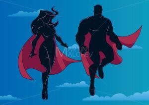 Superhero Couple Flying in Sky Silhouette - Martin Malchev