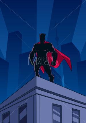 Superhero Roof Watching Silhouette - Martin Malchev