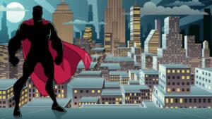 Superhero Standing Night City Silhouette - Martin Malchev