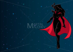 Superheroine Flying in Space Silhouette - Martin Malchev