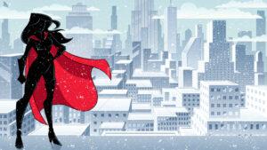Superheroine Standing Tall Winter Silhouette - Martin Malchev