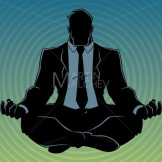 Businessman Meditating Background Silhouette - Martin Malchev