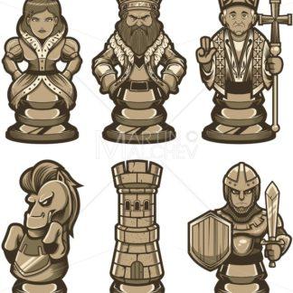 Chess Pieces Set White - Martin Malchev