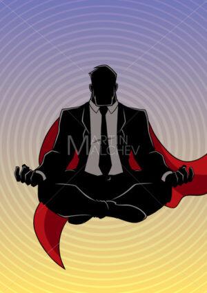 Super Businessman Meditating Background Silhouette - Martin Malchev