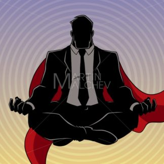 Super Businessman Meditating Background Silhouette - Martin Malchev