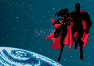 Super Mom Dad and Baby Space Silhouette - Martin Malchev