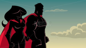 Superhero Couple Standing Together Silhouette - Martin Malchev