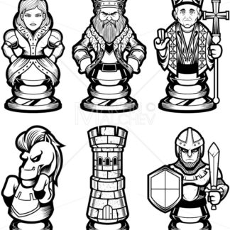 Chess Pieces Set Black and White - Martin Malchev