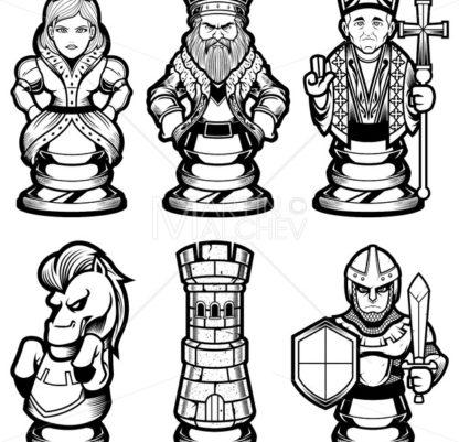Chess Pieces Set Black and White - Martin Malchev