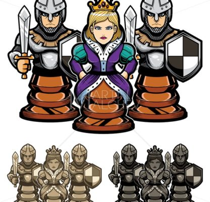 Chess Queen and Pawns - Martin Malchev