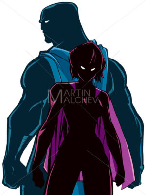 Superhero Couple Back to Back Silhouette - Martin Malchev
