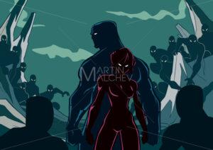 Superhero Couple Minions Silhouette - Martin Malchev