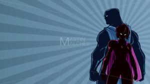 Superhero Couple Ray Light Silhouette - Martin Malchev