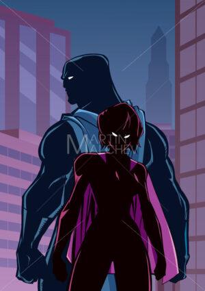 Superhero Couple in City Silhouette - Martin Malchev