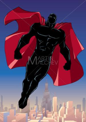 Superhero Flying City Vertical Silhouette - Martin Malchev