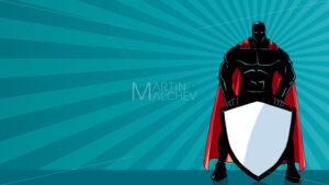 Superhero Holding Shield Ray Light Silhouette - Martin Malchev
