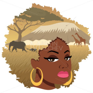 African Girl Landscape 2 - Clip-Art and Video