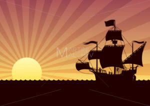 Ship Sailing Sunset - Clip-Art and Video