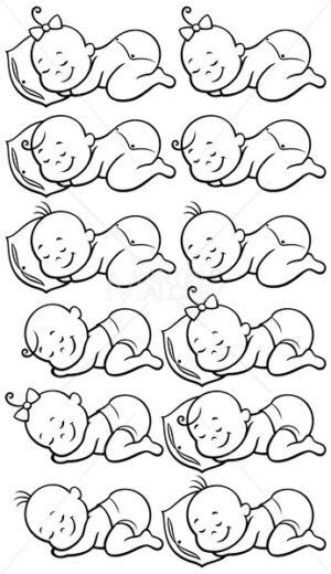 Sleeping Babies Line Art - Clip-Art and Video
