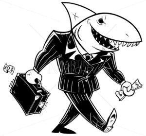 Business Shark Dark Suit Line Art - Martin Malchev
