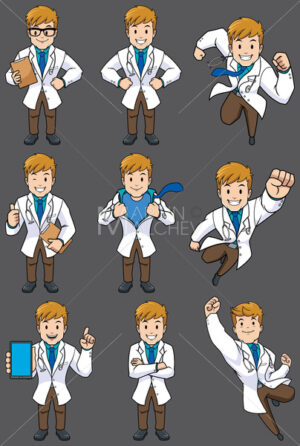 Doctor Caucasian Set - Clip-Art and Video