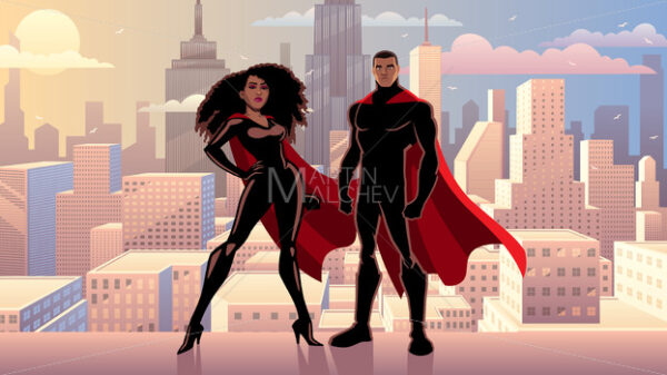 Superhero Couple Black City Day - Martin Malchev