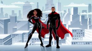 Superhero Couple Black City Winter - Martin Malchev