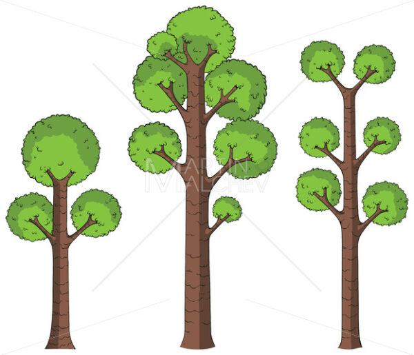Cartoon Trees on White - Martin Malchev