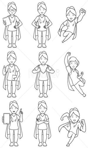 Super Nurse Asian Female Line Art - Martin Malchev