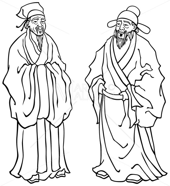 Chinese Elders Line Art - Martin Malchev