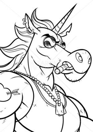 Unicorn Portrait Line Art - Martin Malchev