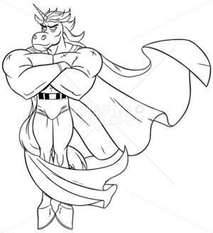 Unicorn Superhero Line Art - Martin Malchev