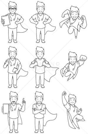 Super Nurse Asian Male Line Art - Martin Malchev