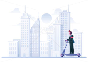 Businessman on Electric Scooter - Martin Malchev